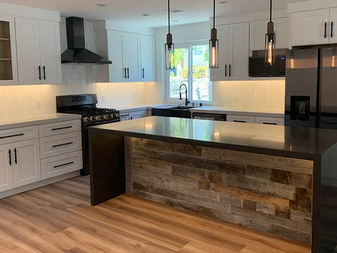 Residential kitchen with Reclaimed Wood
